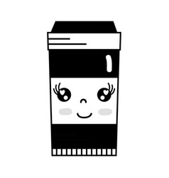 Contour kawaii cute happy coffe plastic cup vector