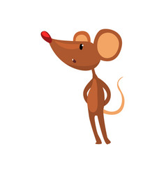 cute brown mouse standing on two legs funny vector image