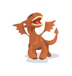 cute cartoon baby dragon with wings funny fantasy vector image