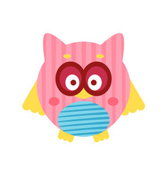 cute cartoon pink owl bird baby toy colorful vector image