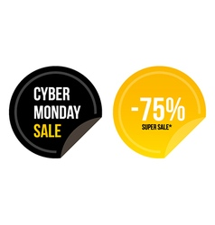 Cyber monday super sale round stickers vector
