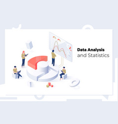 data analysis and statistics concept isometric web vector image