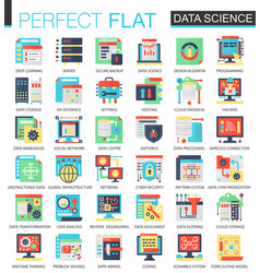 Data science complex flat icon concept web vector