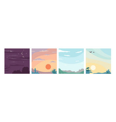 day night sky sunrise and sunset birds in clouds vector image