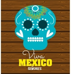 day of dead skull mexico festive design vector image