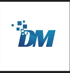 digital tech initial d m letter logo design vector image