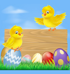 Easter chicks and wooden sign vector