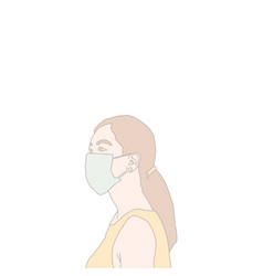 Female crowd in protective mask vector