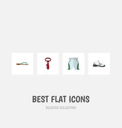 Flat icon garment set cravat beach sandal vector
