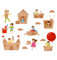 Flat set of happy little kids in action vector