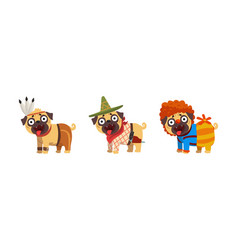 funny pug dog in colorful costumes set vector image