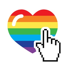Gay symbol - rainbow heart with cursor hand icon vector