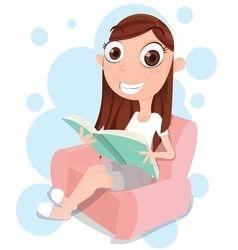 girl reading on sofa vector image