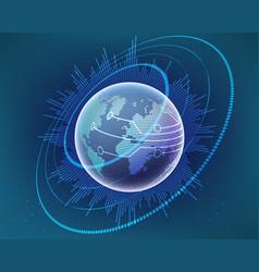 global world map cyber line bigdata vector image