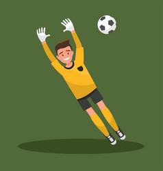 goalkeeper catches ball football vector image