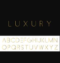 gold minimalistic font luxury english alphabet vector image
