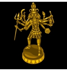 Golden statue of the deity with many hands vector image