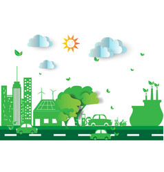 Green city with eco concept elements vector