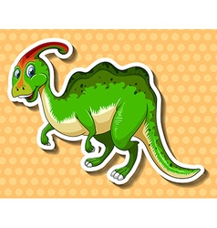 Green dinosaur on polkadots background vector