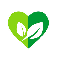 green leaf love organic nature logo vector image