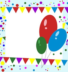 Greeting Card Balloons Confetti and Garlands vector image