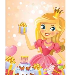 Happy Birthday Princess greeting card vector image vector image
