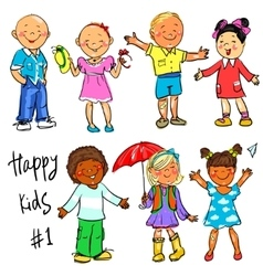 Happy Kids - part 1 Hand drawn clip-art vector