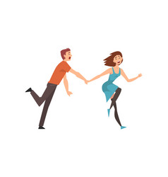happy romantic couple running holding hands young vector image