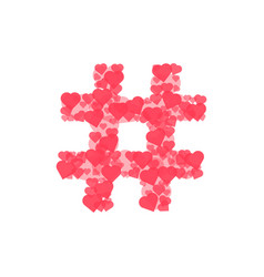 Hashtag logo from hearts isolated on white vector