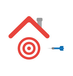 Icon concept of bulls eye and dart under house vector