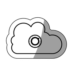 Isolated cloud computing and padlock design vector
