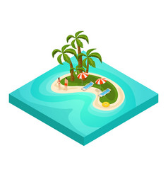 isometric tropical beach vacation concept vector image