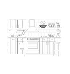 kitchen interior in line art vector image