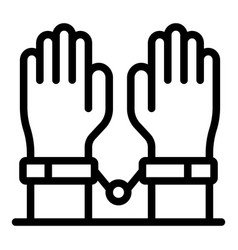 Legal handcuffs icon outline style vector