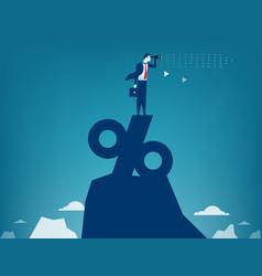 Man looking through telescope standing on top vector