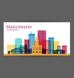 manchester city architecture silhouette colorful vector image