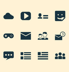 media icons set with sticker media cloud and vector image