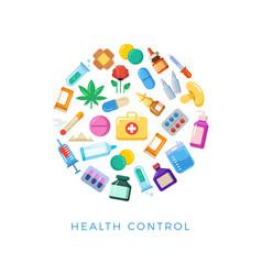 medicinal health control round concept - bright vector image