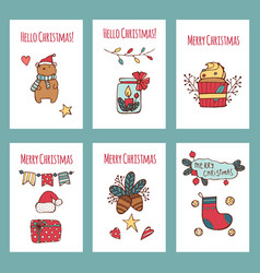 merry christmas greeting cards and vector image