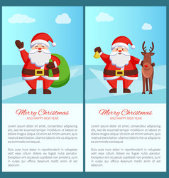 merry christmas santa and bag vector image