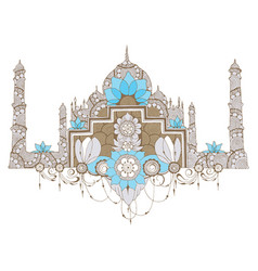 mosque in style mehndi vector image