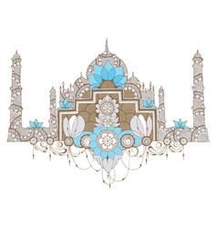 Mosque in style mehndi vector
