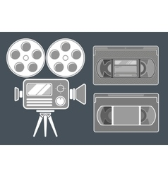 Movie grey icon set on dark background vector