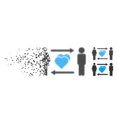 Moving dot halftone people exchange love icon vector