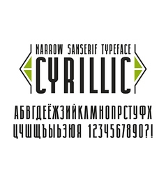 Narrow sanserif Cyrillic font vector