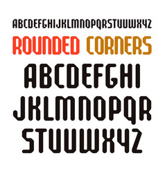 narrow sanserif font with rounded corners vector image