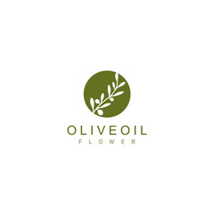 Natural herbal olive oil droplet and flower logo vector