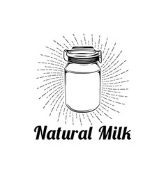 natural milk glass label vector image