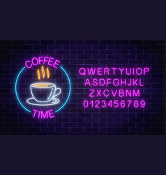 neon coffee house signboard in circle frame with vector image