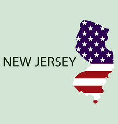 New jersey state of america with map flag print vector